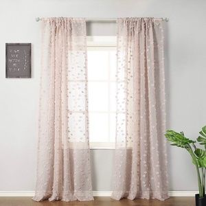 """NWT 96"""" Pink Sheer Pompom Sheer Curtain Panels x2"""